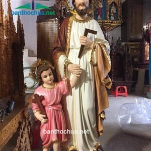 Tượng Thánh Giuse bằng gỗ phấn màu TC23