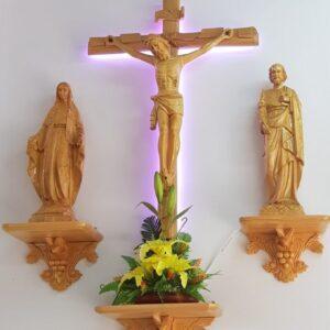 Bộ Tượng Chúa Giêsu Kito, Thánh Giuse, Đức Mẹ bằng gỗ cao cấp