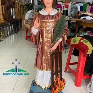 Tượng Thánh Lawrenso bằng gỗ mít sơn màu