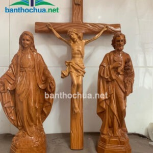 Bộ tượng Chúa, Đức Mẹ bằng gỗ đỏ TC34