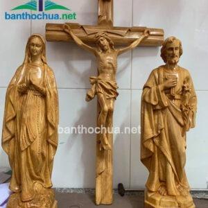 Bộ tượng gia đình Thánh gia bằng gỗ đẹp TC36