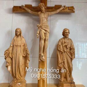 Bộ tượng thờ Công Giáo bằng gỗ TĐ09